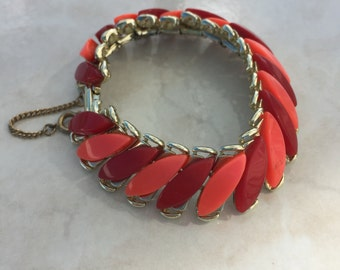 Red and Pink Lucite Bracelet