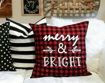 "Holiday Sale - Merry & Bright Pillow Cover - Red and Black Buffalo Check - Red and Black Christmas - fits a 20"" x 20"" pillow form"