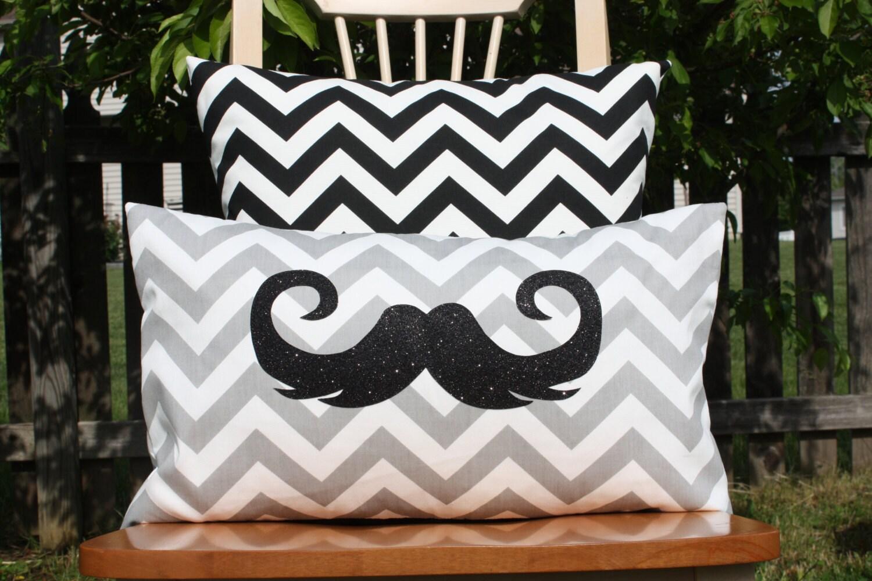 Sparkle Mustache Lumbar Pillow Cover Grey Chevron Etsy