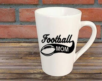 08771f032 Football Mom Sports Mug Coffee Cup Kitchen Decor Bar Gift for Her Him  Jenuine Crafts