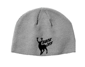 Buck Off Deer Hunter Hunting Beanie Knitted Hat Cap Winter Clothes  Christmas Black Friday Jenuine Crafts 6bcae9c43cc0