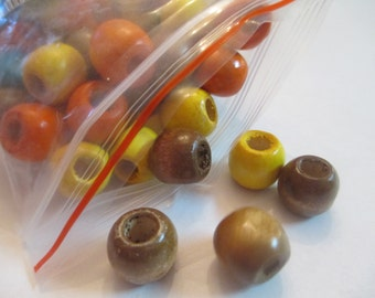 100 Colored Wooden Beads Jewelry Making