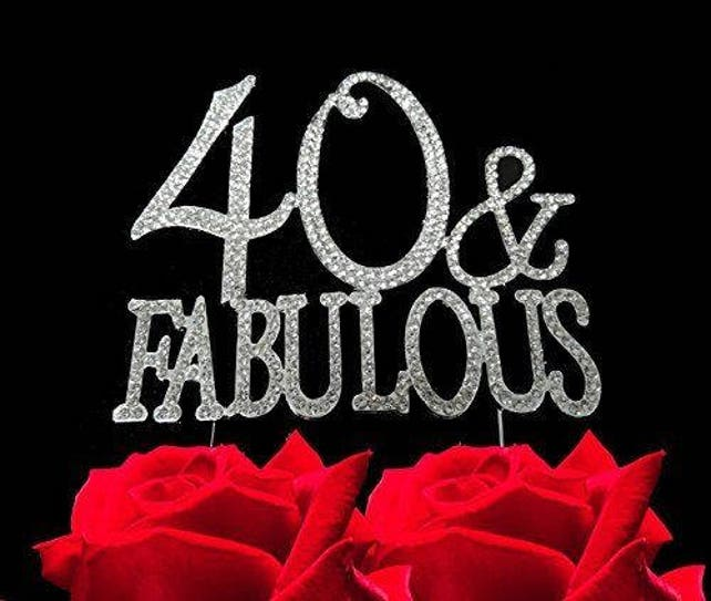 40 And Fabulous Silver Crystal Cake Toppers Bling 40th Birthday Topper Supplies Jenuine Crafts