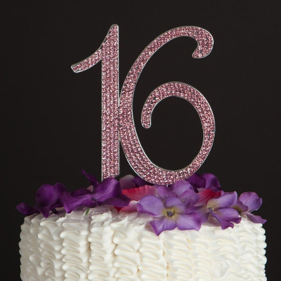 16th Birthday Cake Toppers Pink Crystal Bling Baking Supplies Etsy