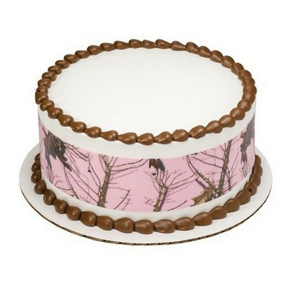 Pink Camo Edible Birthday Cake Topper Strips Baking Supplies Etsy