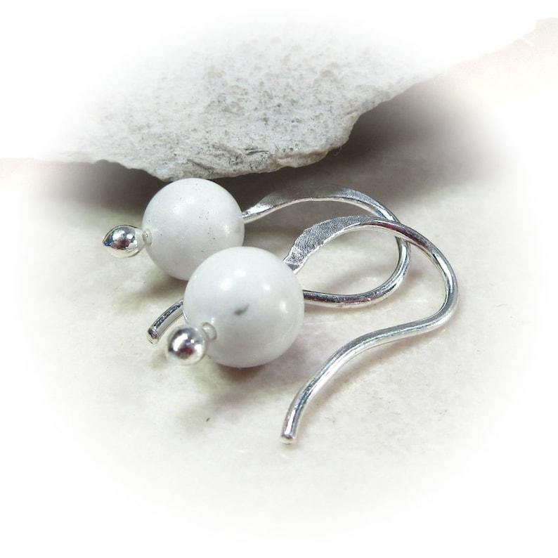 Gemmies Dangle Earrings Silver with Howlite Easy Earrings 6mm Earrings Howlite Earrings Gemstone Earrings White Earrings