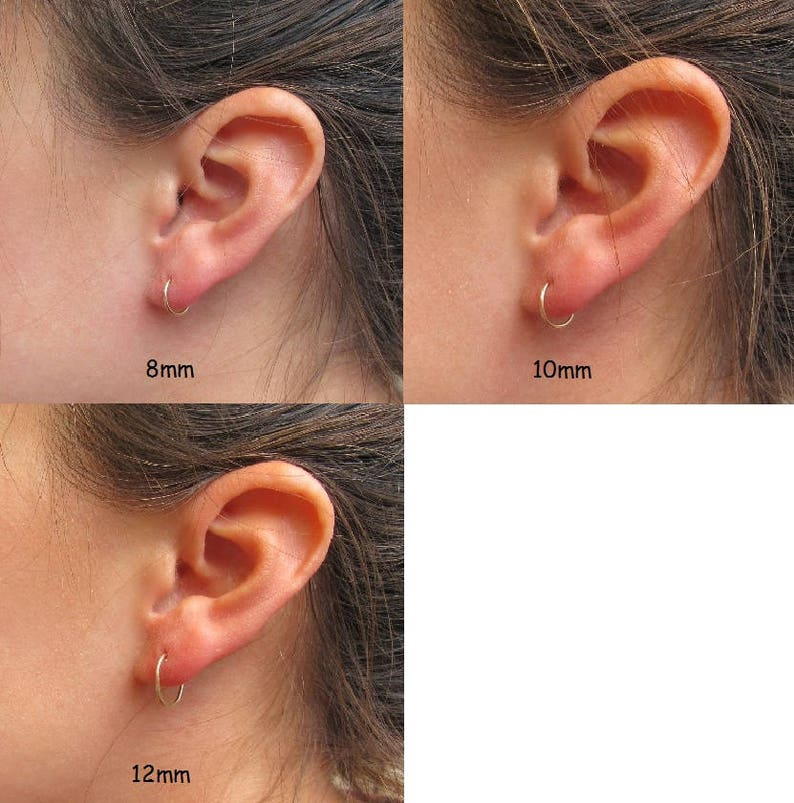 Small Hoop Earrings Silver with Star Dangle 8mm 10mm or 12mm