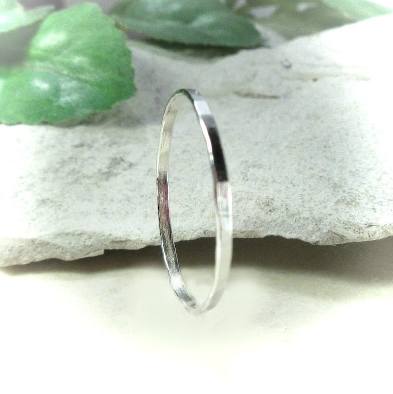 Ring Sterling Silver Hammered Skinny  8mm, 1mm, 1 5mm or 2mm Wide Band