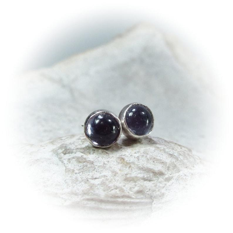 Stud Earrings Silver Iolite Gemstone 4mm