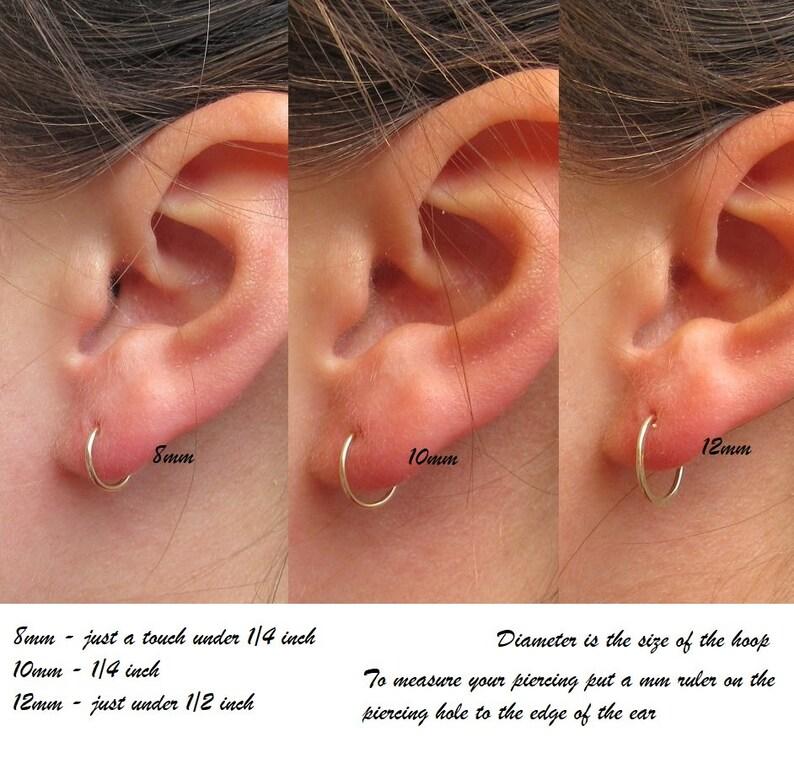 SINGLE Big Gauge Hoop Earrings Face Hammered Endless Plain Conch Tragus Precious and Semi Precious Helix Cartilage Orbital