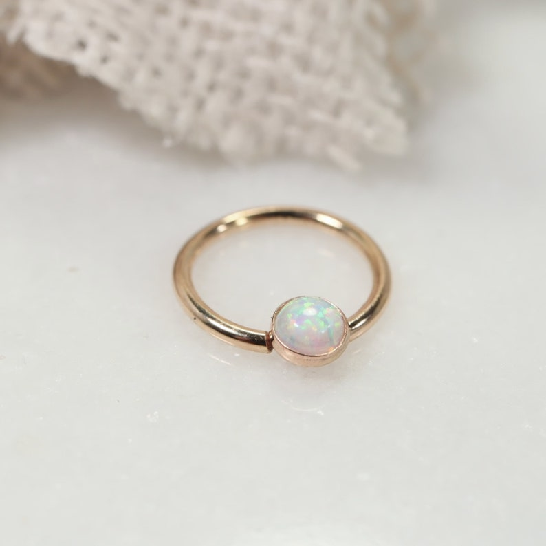 Septum Ring Gold 4mm Fire Opal Your Choice Of Metal Gauge Diameter and Color