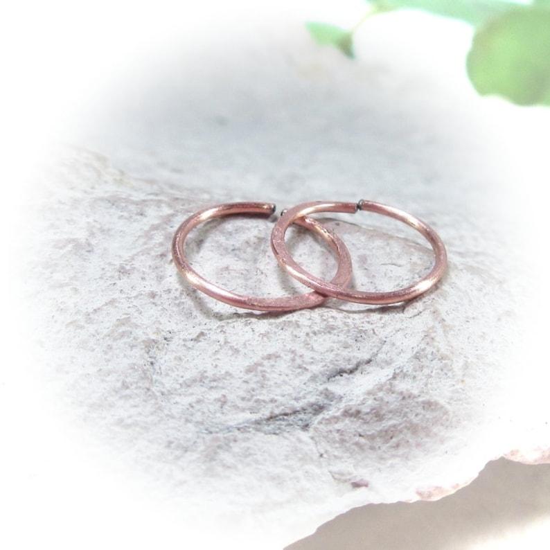 Small Hoop Earrings Copper Hammered Endless
