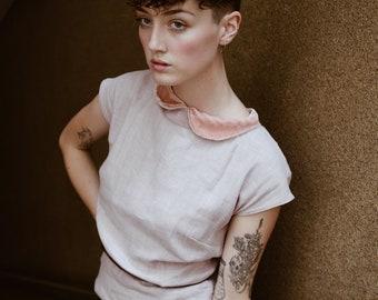 Reminiscing blouse in Blush Ramie and Silk Velvet collar