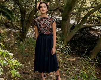 SALE - Bough Full Skirt with Tassel Detail in Midnight