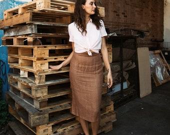 Pencil Skirt in Caramel Pinstripe Linen - 'Perennial' skirt