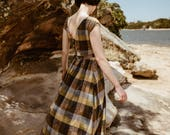 SALE - Grass Script' Dress in Plaid Meadow