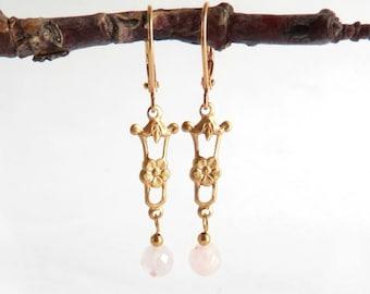 Deco Drop Earrings - Rose Quartz