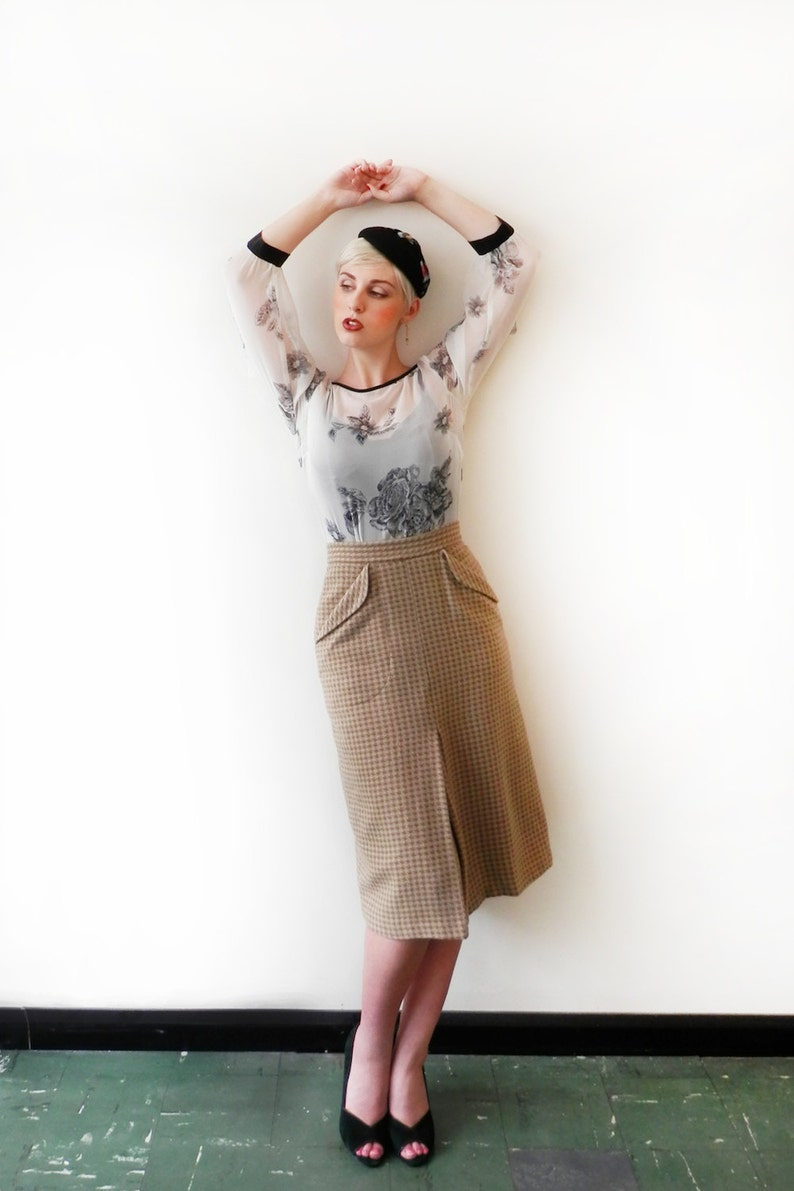 SALE Inverted Pleat Tweed Skirt /'Firefly Skirt/' in bracken