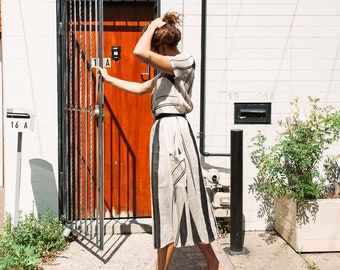 Dusk Gathered Skirt in Thick Stripe