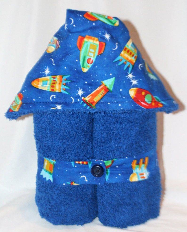 Outer Space Kids Plush Hooded Towel  Rocketship to the Moon image 0