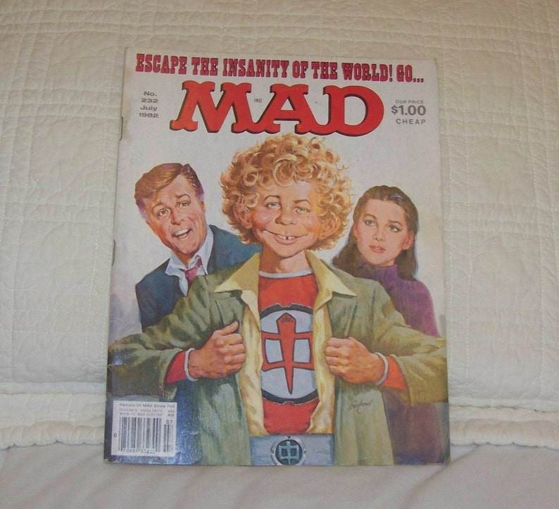 1982 Mad Magazine No 232 Escape The Insanity of The World! Go Mad