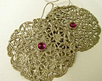 Ruby Earrings, Extra large Earrings, Big Earrings, Brass And Gold Fill Earrings, Bohemian Earrings, Gypsy Earrings, Metalwork Earrings
