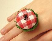Ant Picnic Ring Pincushion