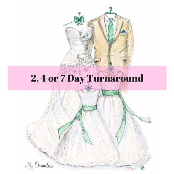 Wedding Dress Sketch Wedding Dress Sketches For Gift Etsy