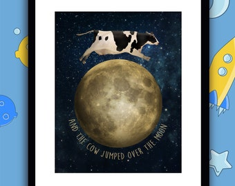 Cow Jumped Over the Moon Themed Note Cards Handcrafted and Personalized