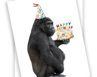 Funny /& Adorable Ballerina Gorilla Love Blank Note Card