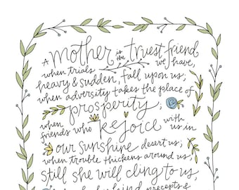 Mother Poster: PDF, Digital Download, Handwritten, Mother's Day