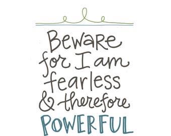 Fearless Poster: PDF, Digital Download, Handwritten