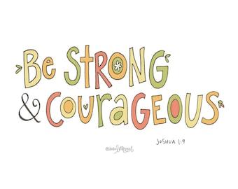 Courageous Poster: PDF, Digital Download, Handwritten