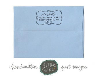 Handwritten Elizabeth Address Stamp: your choice of self-inking or red rubber