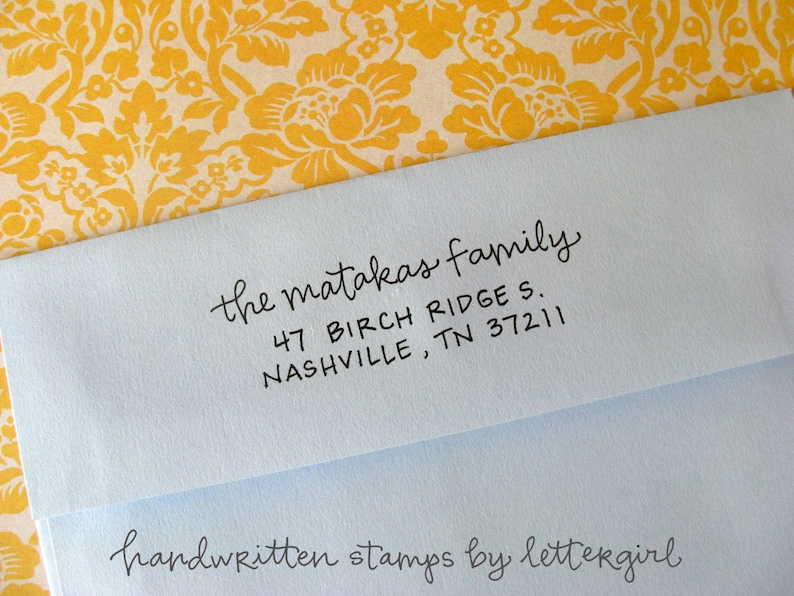 Handwritten Emerson Address Stamp: your choice of self-inking image 0