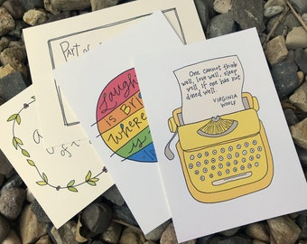 Handwritten Quotation Postcards: Snail Mail, Mail Art, Illustrated