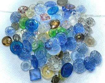 Vintage Buttons - 83 Glass Buttons