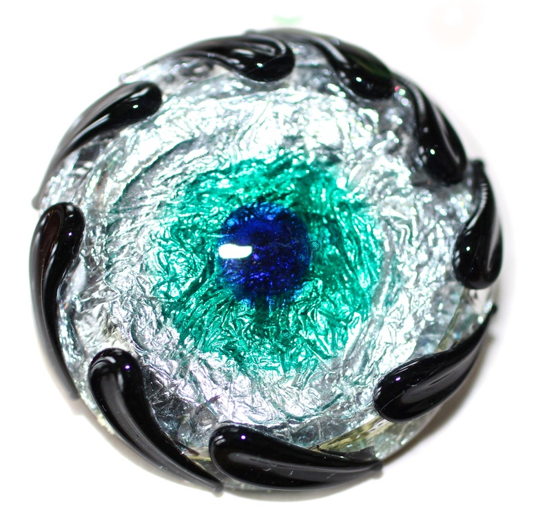 Made by KPHoppe Lampworked Sheath Overlay Button ~ Gray Opaque Base Peacock Large Silver Foil