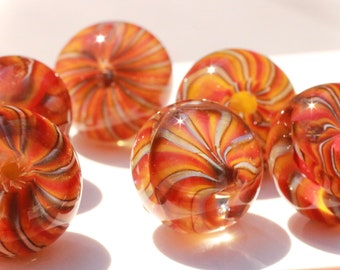 6 Glass (Pryex) Buttons, Studio Paperweights - Great for Crafters or Designers