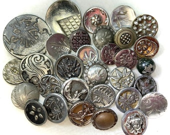 Antique Buttons - 31 White Metal Small Metal Buttons