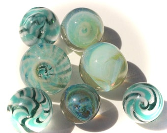 7 Glass (Pryex) Buttons, Studio Paperweights - Great for Crafters or Designers