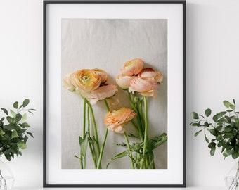 Still Life Photography, Ranunculus Flowers, Peach Flower Print, Flower Photography, Floral Wall Art, Orange Flowers Photo, Botanical Art