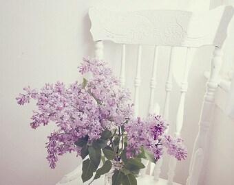 Still Life Photography - Purple Lilac Still Life Photo White Purple Flower Print Mothers Day Art Romantic Home Decor Spring Photograph