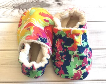 fd47bbec0fcc Neon baby shoes flowers bright crib shoes booties