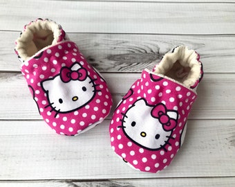 0a9973083 Hello Kitty baby shoes, Pink polka dot cat organic booties, Kawaii baby  gift, Toddler Hello Kitty slippers, moccasins for babies