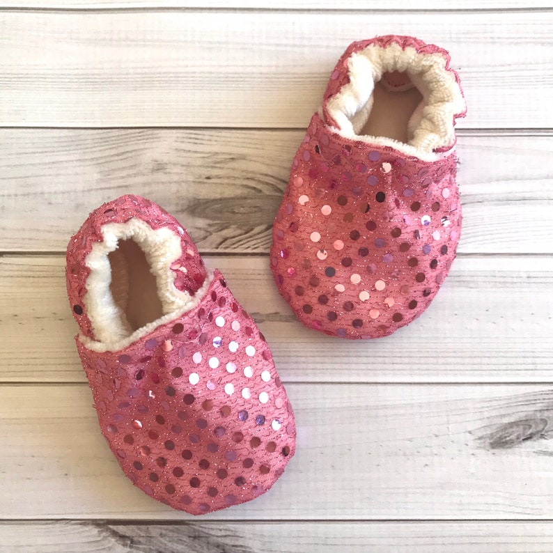 011420248228 Pink sparkle baby shoes toddler special occasion sequin