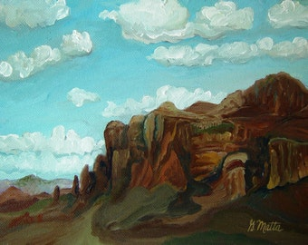 original oil painting of clouds and mountain