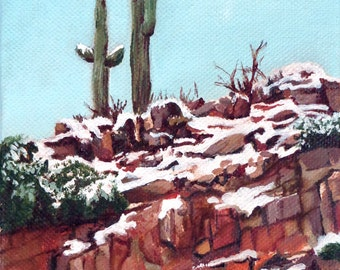 Desert Snow -original  oil painting 5 x 7 inches on canvas