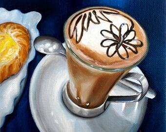 Italian coffee - 6x6 original oil painting by G.Matta