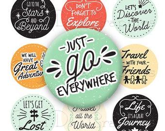 Let's Adventure Bottle Cap Travel Sayings Digital Art Collage Set 1 Inch Circle 4x6 - Instant Download - BC1175